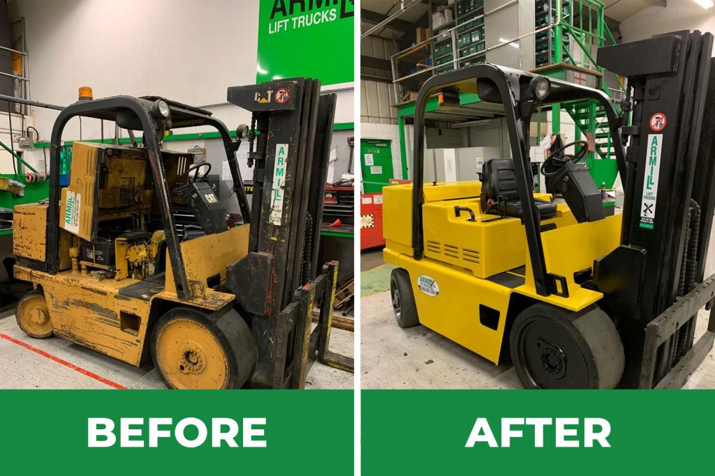 Refurbished Forklifts Before and After